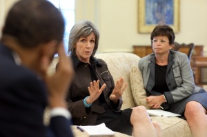 President Barack Obama is briefed by Carol Browner, assistant to the President for energy and climate change, on the response to the BP oil spill in the Gulf of Mexico, during a meeting in the Oval Office, June 1, 2010. Senior Advisor Valerie Jarrett is pictured at right. (Official White House Photo by Pete Souza)